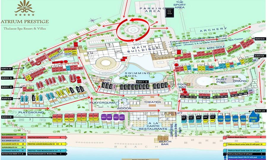 Atrium Prestige Thalasso Spa Resort and Villas. Карта отеля.